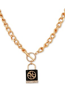 "Guess Gold-Tone Crystal & Logo Padlock 18"" Pendant Necklace"