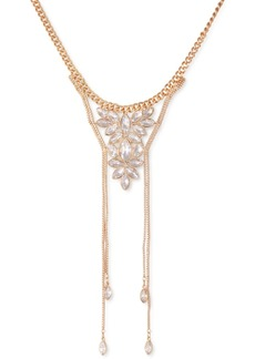 """Guess Gold-Tone Crystal Box Chain Frontal Necklace, 16"""" + 2"""" extender"""