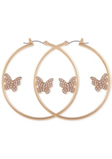 """Guess Gold-Tone Crystal Butterfly Large Hoop Earrings, 2"""""""