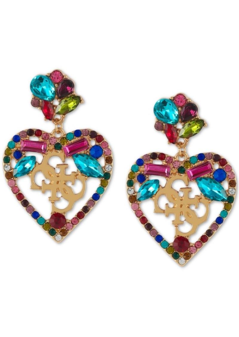 Guess Gold-Tone Crystal Heart Logo Drop Earrings