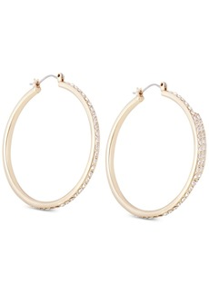 Guess Gold-Tone Crystal Large Hoop Earrings