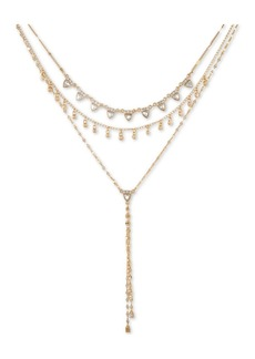 """Guess Gold-Tone Crystal Layered Lariat Necklace, 15"""" + 2"""" extender"""