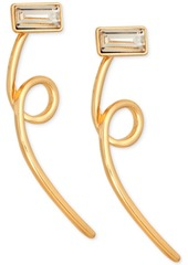 Guess Gold-Tone Crystal Loop Front-and-Back Earrings
