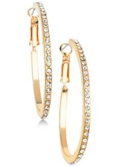 "Guess Gold-Tone Crystal Medium 1-1/4"" Hoop Earrings"