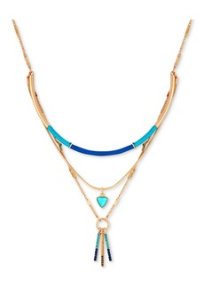 "Guess Gold-Tone Crystal, Stone & Thread-Wrapped Layered Pendant Necklace, 15"" + 2"" extender"
