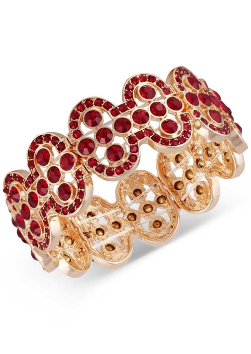 Guess Gold-Tone Crystal Stretch Bracelet