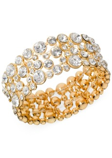 Guess Gold-Tone Crystal Wide Stretch Bracelet