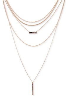 """Guess Gold-Tone Faux-Python & Multicolor Pave Bar Layered Lariat Necklace, 13"""" + 2"""" extender"""