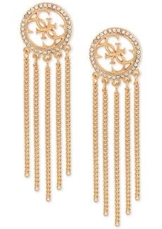 Guess Gold-Tone Fringe Crystal Hoop Earrings