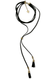 Guess Gold-Tone Jet Imitation Suede Tassel Choker Necklace