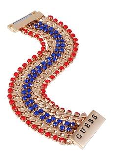 Guess Gold-Tone Link & Stone Multi-Row Flex Bracelet