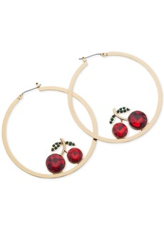 Guess Gold-Tone Medium Crystal Cherry Hoop Earrings 2""