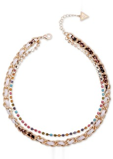"""Guess Gold-Tone Multicolor Crystal & Woven Faux-Python Double-Row Collar Necklace, 15"""" + 2"""" extender"""