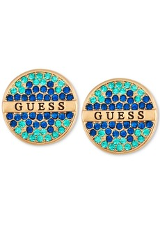 Guess Gold-Tone Pave & Logo Button Earrings