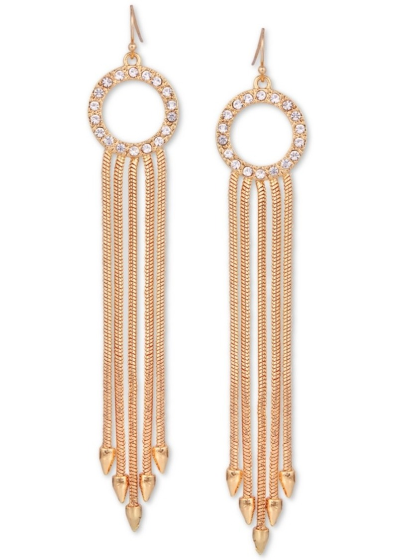 Guess Gold-Tone Pave Circle & Multi-Chain Drop Earrings