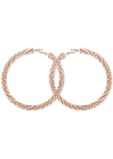Guess Gold-Tone Pave Large Hoop Earrings