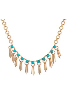 """Guess Gold-Tone Stone & Bar Fringe Statement Necklace, 16-1/2"""" + 2"""" extender"""