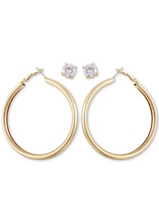Guess Gold-Tone Tubular Hoop & Crystal Stud Earrings Set