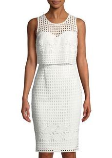 Guess Grid-Lace Illusion Sheath Dress