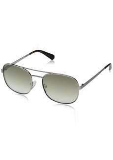 GUESS Gu5201 Aviator Sunglasses Shiny Dark nickeltin & Green Mirror 56 mm