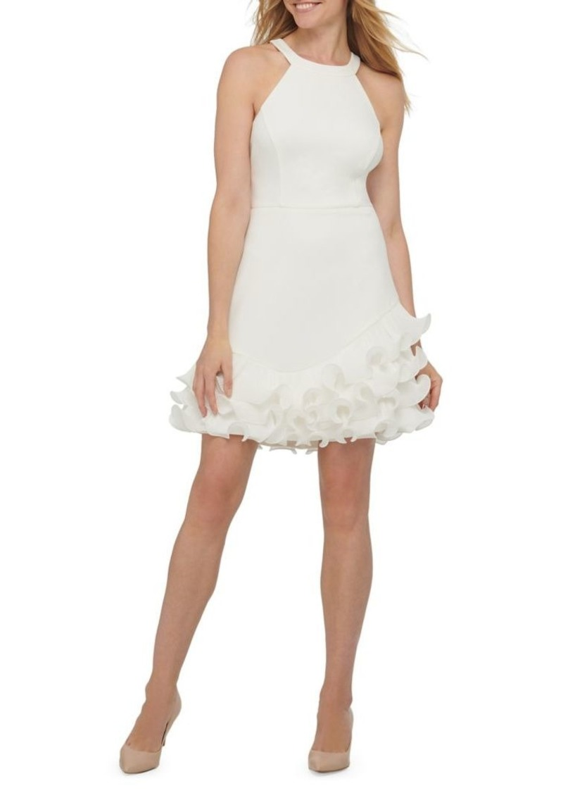 Guess Halter Ruffle Bottom Fit-&-Flare Dress
