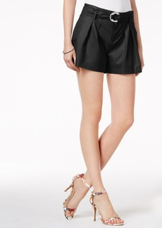 Guess Hex Belted Faux-Leather Shorts