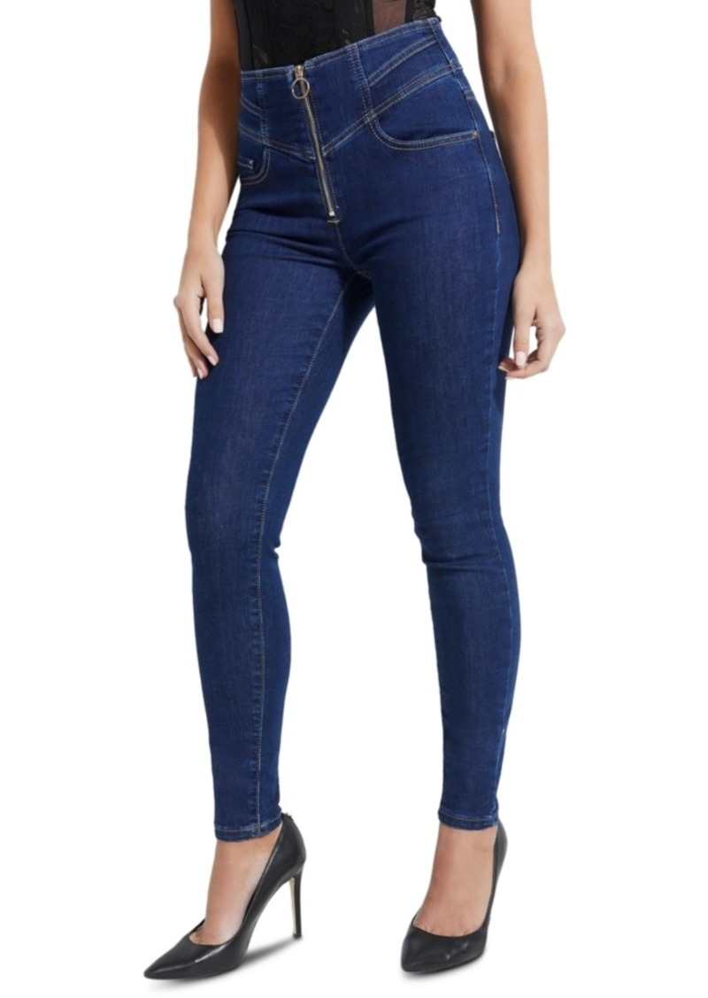 Guess High-Rise Zip-Front Skinny Jeans