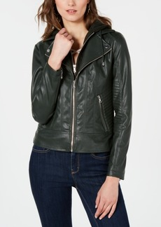 Guess Hooded Faux-Leather Jacket
