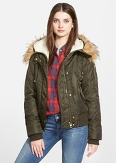 GUESS Hooded Satin Bomber Jacket with Faux Fur Trim & Faux Shearling Lining
