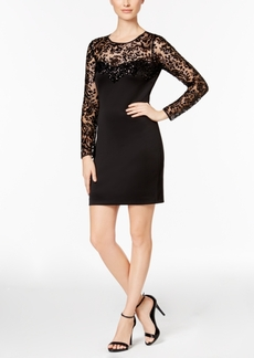 Guess Illusion Lace Sequined Sheath Dress