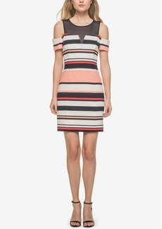 Guess Illusion Striped Cold-Shoulder Dress