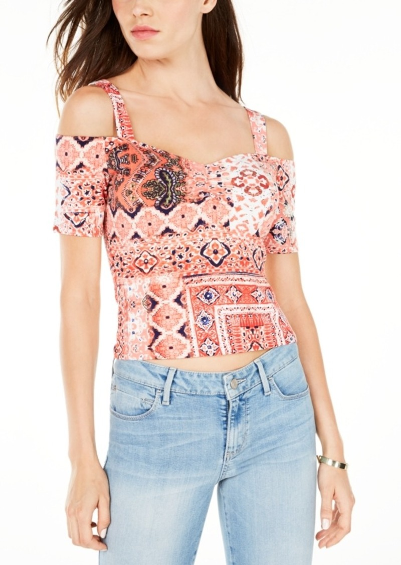 Guess Jada Printed Cold-Shoulder Crop Top