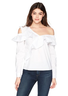 GUESS Junior's Long Sleeve Winslow One Shoulder Top  L