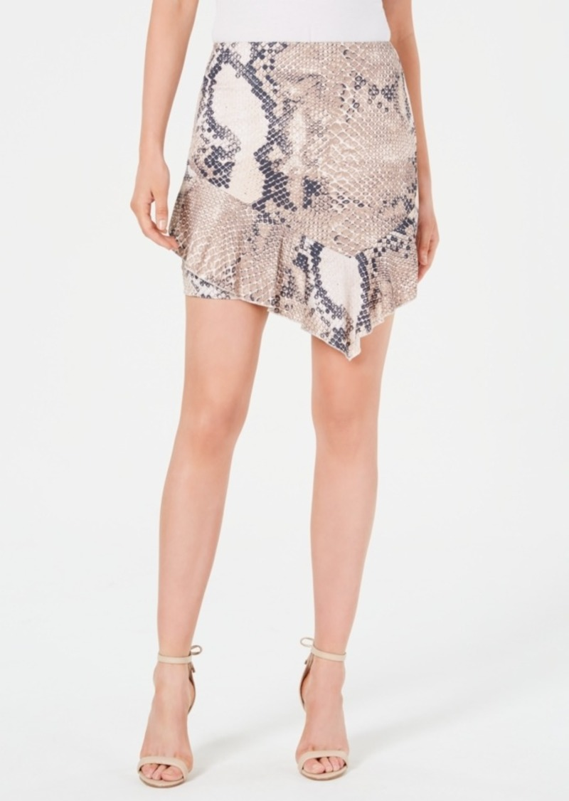 Guess Juniors' Snakeskin-Print Ruffle Skirt