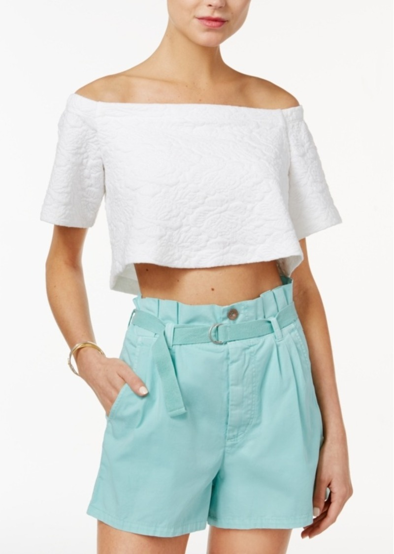 Guess Katia Textured Off-The-Shoulder Crop Top