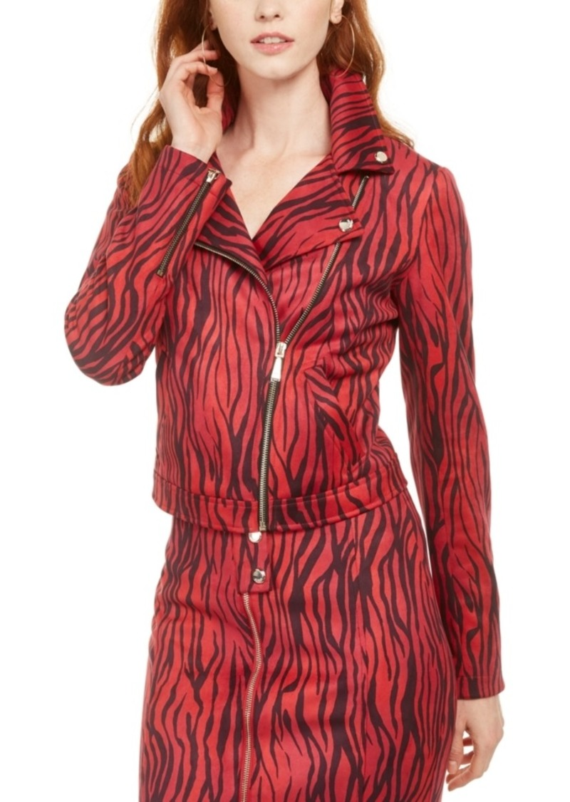 Guess Kingdom Stripe Print Red Moto Jacket