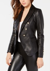Guess Kumi Double-Breasted Faux-Leather Blazer