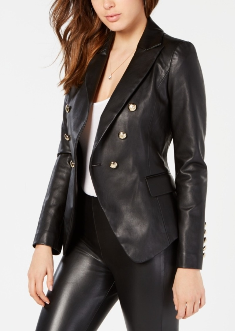 fd504fcdd GUESS Guess Kumi Double-Breasted Faux-Leather Blazer | Outerwear