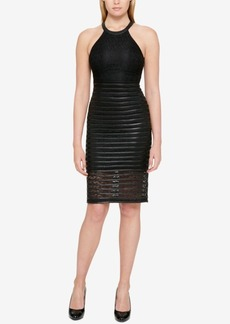 Guess Lace & Faux-Leather Halter Dress