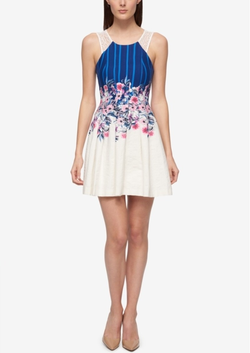 bd235572460 SALE! GUESS Guess Lace-Back Floral-Print Fit   Flare Dress