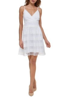 Guess Lace Fit-&-Flare Dress