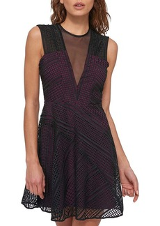GUESS® Lace Fit And Flare Sheer Illusion Dress