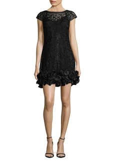 Guess Lace Floral-Ruffle Hem Mini Dress