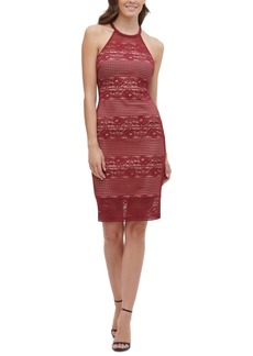 Guess Lace Illusion Halter Dress