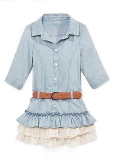 Guess' Lace-Ruffle Denim Dress, Toddler & Little Girls (2T-6X)