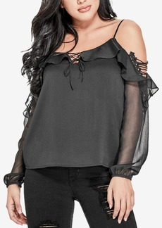 Guess Lace-Up Cold-Shoulder Top