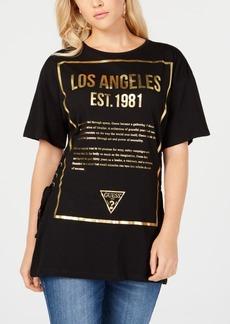 Guess Lace-Up Cotton Logo T-Shirt