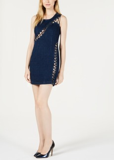 Guess Lace-Up Denim Bodycon Dress