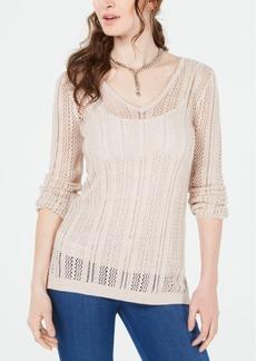 Guess Lace-Up Eyelet-Stitch Sweater