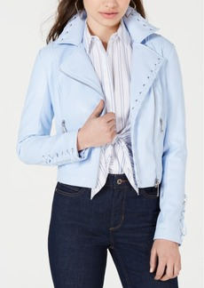 Guess Lace-Up Faux-Leather Moto Jacket